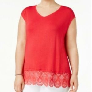 Love Scarlett Plus Size Lace Trim Top, 1X